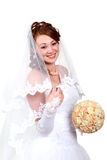 Redhead bride in a white dress Stock Image