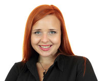 Redhead business woman closeup face portrait over white background Royalty Free Stock Photo