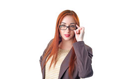 Redhead business woman in glasses Stock Images
