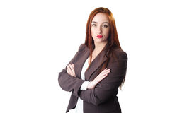 Redhead Business woman portrait with disgust face expression Royalty Free Stock Images