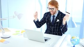 Redhead Businessman Excited for Online Shopping, Payment by Credit Card. 4k , high quality Stock Image