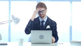 Redhead Businessman with Headache, Tension and Stress. 4k , high quality Stock Images