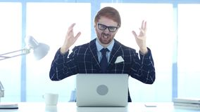 Redhead Businessman in Loss, Frustration and Tension. 4k , high quality Royalty Free Stock Photography