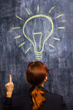 Redhead businesswoman having a bright idea Stock Photos