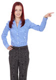 Redhead businesswoman point to her side Royalty Free Stock Photography