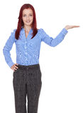 Redhead businesswoman show her empty hand Royalty Free Stock Photos