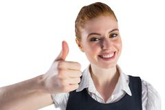 Redhead businesswoman showing thumbs up Stock Image