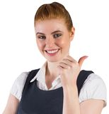 Redhead businesswoman showing thumbs up Royalty Free Stock Photo