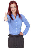 Redhead businesswoman shows thumbs up, isolated Royalty Free Stock Image