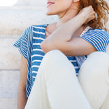 Redhead carefree woman outdoor Royalty Free Stock Photo