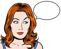 Redhead comic pop art character looking sideways with speech bubble white background Stock Photo