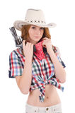 Redhead cowgirl with gun Stock Images