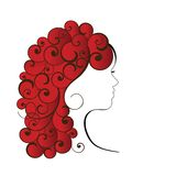 Redhead with Curls. Woman with long curly hair in red (coils one piece royalty free illustration