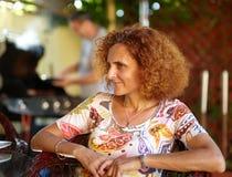 Redhead curly hair woman Royalty Free Stock Photos