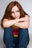 Redhead di pensiero fotografie stock libere da diritti