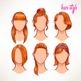 Redhead. different hairstyles Stock Photos