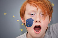 Redhead fan boy with alaska state flag painted on his face. Royalty Free Stock Image