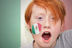 Redhead fan boy with mexican flag painted on his face Royalty Free Stock Photo