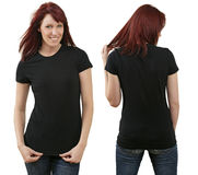 Redhead female with blank black shirt Royalty Free Stock Photos