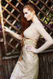 Redhead Female in Golden Trendy Dress Outside Stock Photography