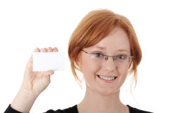 Redhead female person with blank business card Stock Photography