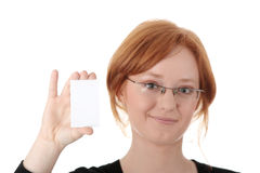 Redhead female person with blank business card Stock Image