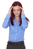 Redhead female suffer from headache, isoalted Stock Images
