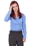 Redhead female suffer from headache, isoalted Royalty Free Stock Photography