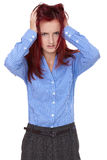 Redhead female tear her hair out, stressed Royalty Free Stock Photo