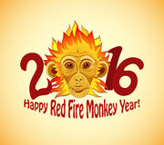 Redhead Fire Monkey as New 2016 Year symbol. Vector format Royalty Free Stock Image