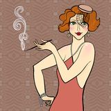 Redhead flapper girl Royalty Free Stock Photos