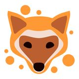 Redhead fox head icon logo. Orange vector animal design brand sticker style drawing wild forest dog nature cartoon cute face stock illustration