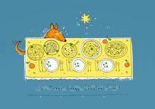 Redhead (foxes) dog celebrates Christmas. Illustration Royalty Free Illustration