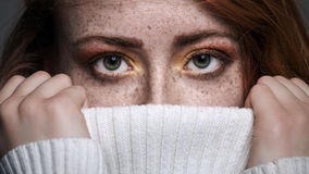 Redhead freckled woman Stock Photos