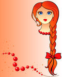 Redhead girl. Portrait of a red-haired girl with freckles and long braid Royalty Free Stock Photography