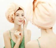 Redhead girl in bathroom Stock Photo