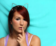 Redhead girl with cat ears   Royalty Free Stock Photos