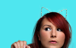 Redhead girl with cat ears Royalty Free Stock Photo