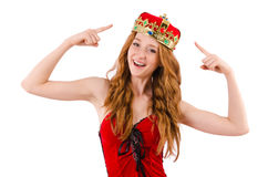 Redhead girl with crown n funny concept Stock Photos
