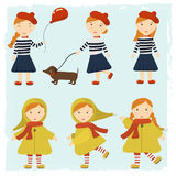 Redhead girl with a dog a Dachshund and a balloon. Pattern girls in different styles. Ginger girl with a dog a Dachshund and a balloon. Pattern girls in Stock Photography