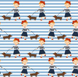 Redhead girl with a dog a Dachshund and a balloon. Pattern girls in different styles. Ginger girl with a dog a Dachshund and a balloon. Pattern girls in Stock Image