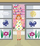 Redhead girl in the doorway of her room. The illustration shows a girl with red hair wearing a white dress with colored circles. She stands in the doorway of the Stock Photography