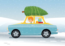 Redhead girl driving Christmas. Vector illustration of a redhead girl driving an old fashioned car full of presents and with a Christmas tree on the roof Stock Photography