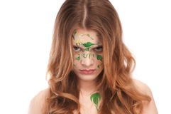 Redhead girl with faceart Stock Image