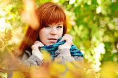 Redhead  girl in fal Stock Photo