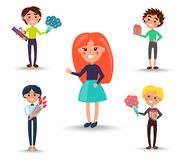 Redhead Girl in Full Skirt and Boys with Gifts. Redhead girl in full turquoise skirt and boys with presents and bouquets of tulips and gerberas isolated vector Stock Photos