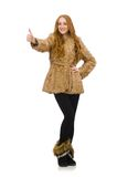 Redhead girl in fur coat isolated on the white Stock Photo