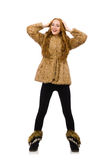 Redhead girl in fur coat isolated on the white Stock Image