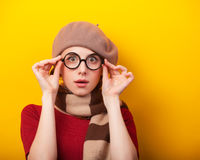 Redhead girl in glasses and scarf Royalty Free Stock Photo