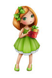 Redhead girl in green dress holding gift box, isolated illustration Stock Photography